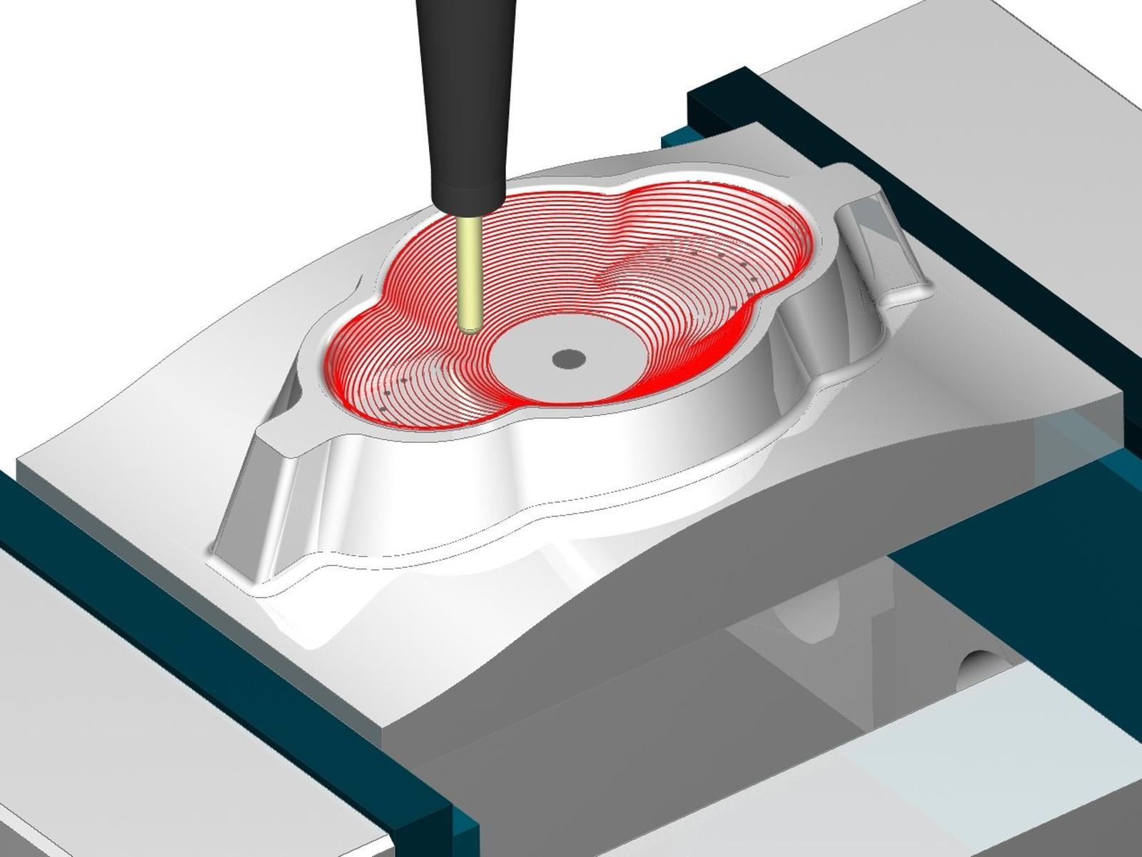 3D Spiral-Schlichten gestattet die Bearbeitung steiler und flacher Bereiche einer Form mit einer einzigen Werkzeugbahn, deren Bahnabstand sich nach dem Winkel der zu bearbeitenden Flächen richtet.