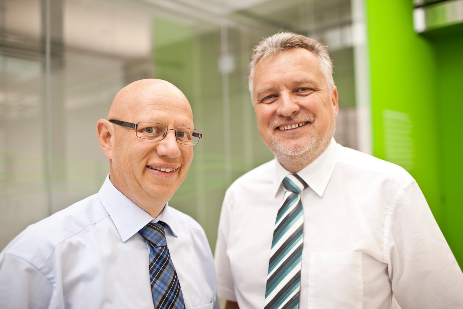 Die beiden Geschäftsführer von 1zu1, in Dornbirn, Hannes Hämmerle (links) und Wolfgang Humml.