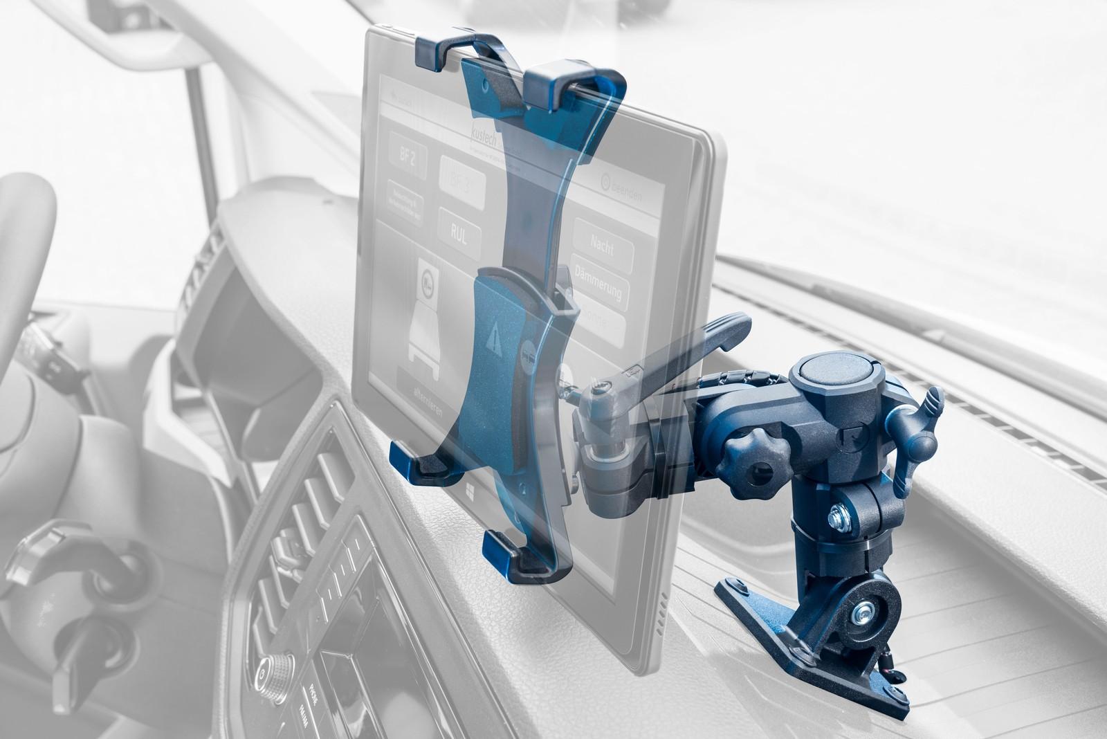 Speziell für den Einbau in Nutzfahrzeugen und mobile Maschinen aller Art entwickelte RK Rose+Krieger den vibrationssicheren Terminalhalter. Die flexible Bauweise ermöglicht die Integration in verschiedenste Umfelder.