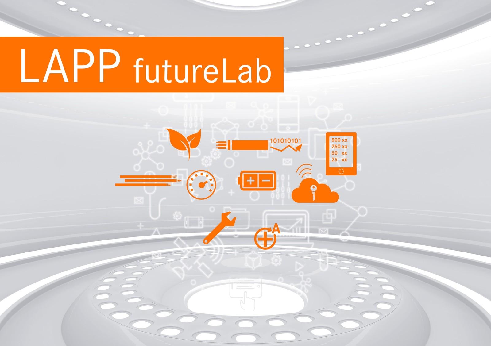 Im Future Lab, einem eigens gestalteten Teil des Messestands, gibt Lapp einen Einblick, was die Zukunft der Verbindungstechnologie bringt.