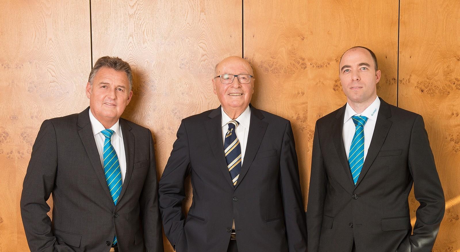 Generationenübergreifende Geschäftsführung bei Mayr Antriebstechnik: Günther Klingler, Fritz Mayr und Ferdinand Mayr