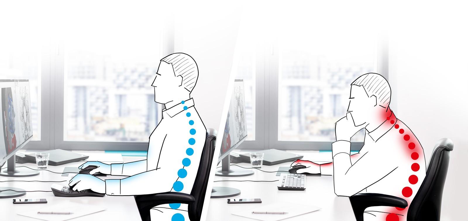 Die Nutzung einer 3D-Maus führt zu einer aufrechteren und damit gesünderen Sitzhaltung.