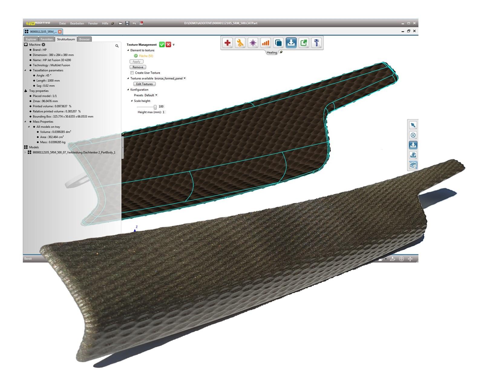 Für den 3D-Druck der Thermoplastteile stellt das Unternehmen Additive Innovation über 5.ooo Texturmuster zur Verfügung.