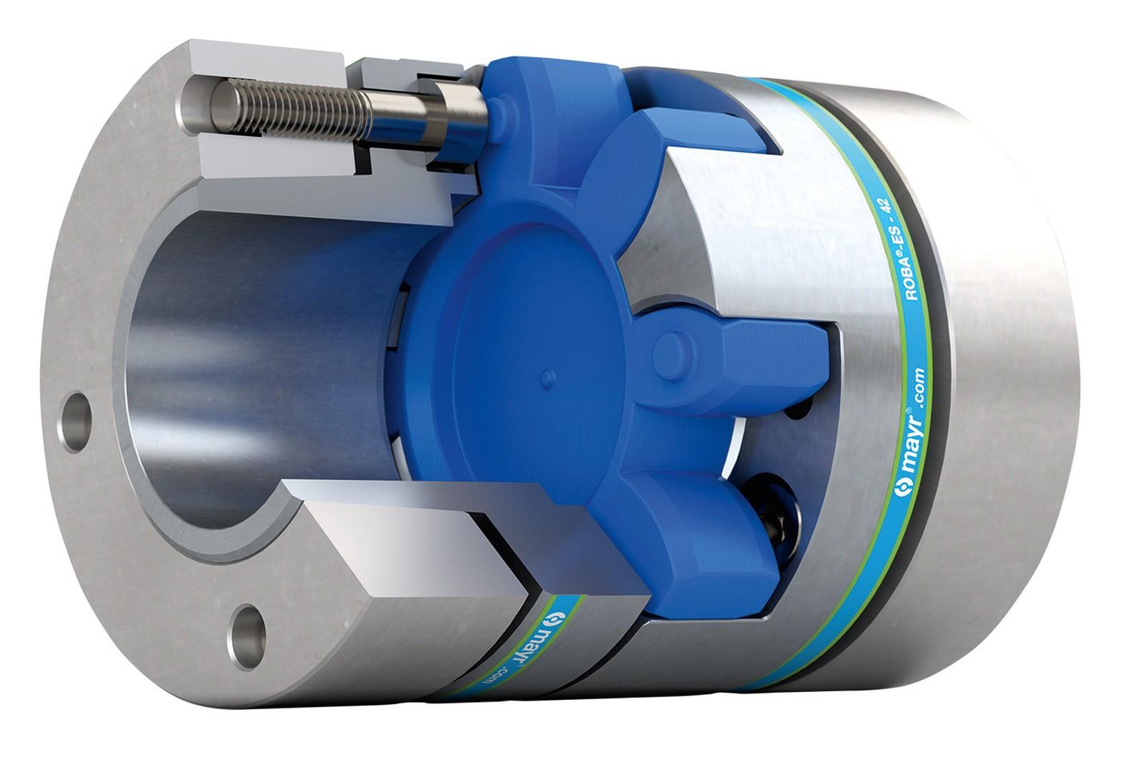 Die spielfreien, elastischen Roba-ES Elastomerkupplungen von Mayr gleichen radialen, axialen und winkligen Wellenversatz aus und schützen das Antriebssystem vor kritischen Schwingungen.