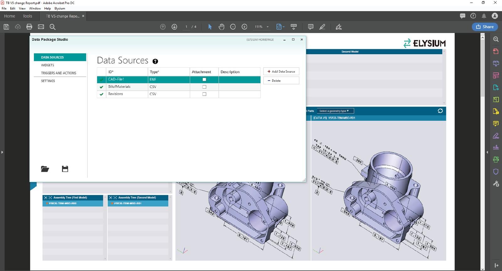 Benutzeroberfläche des Data Package Studios und ein Adobe Acrobat Beispiel-Template: Das Add-on für die Software Asfalis ermöglicht eine automatische Produktdokumentation von Engineering-Daten.