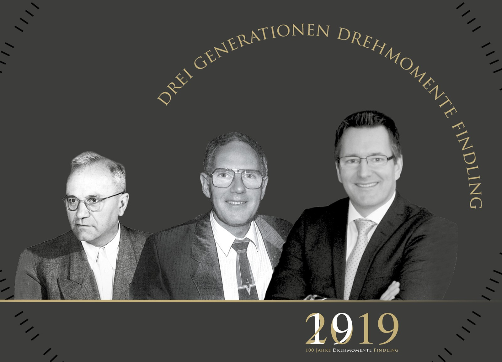Familienunternehmen Findling Wälzlager in dritter Generation: (v.l) Franz Anton Findling gründete die Firma 1919 in Berlin. Sohn Franz Peter übernahm im Alter von 25 Jahren. Seit 2001 ist Klaus Findling Geschäftsführer.