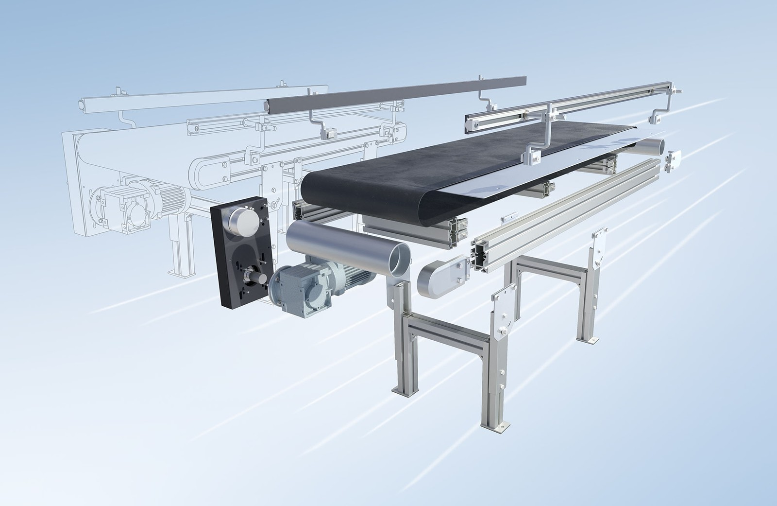 Zum Transport von Stückgütern bietet mk eine große Variantenvielfalt an standardisierten, modular aufgebauten Förderbändern mit Gurt an, auch GUF genannt.
