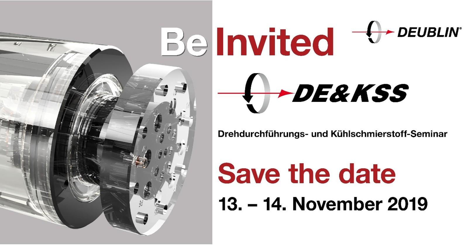Am 13. und 14. November 2019 findet bei Deublin das 17. Drehdurchführungs- und Kühlschmierstoff-Seminar statt.