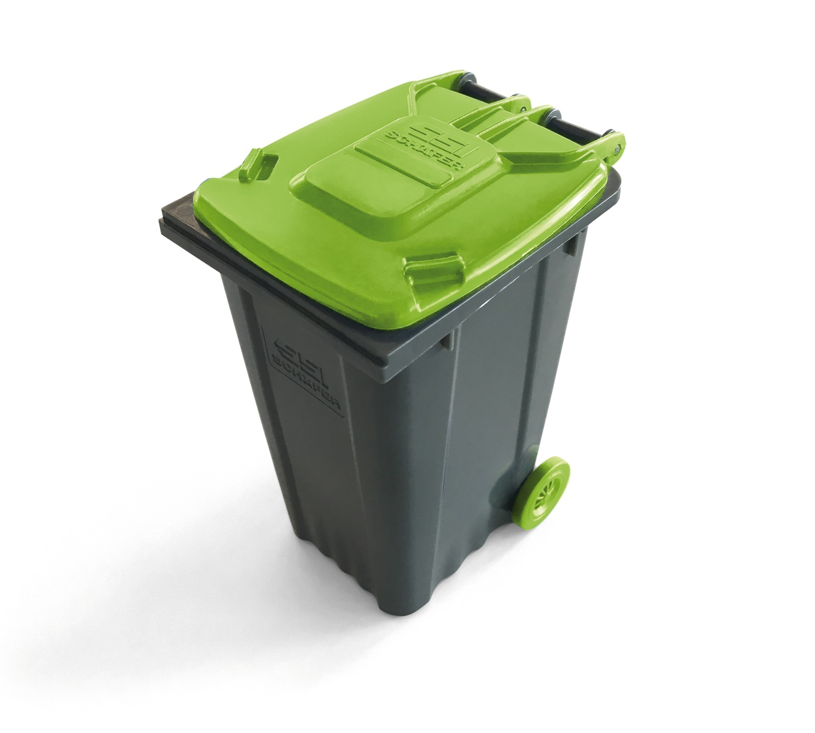 K 2019: Engel produziert Mini-Müllcontainer aus Rezyklat. Auf einer Engel Victory Spritzgießmaschine werden Post-Consumer-Abfälle zu Mini-Müllcontainern verarbeitet.