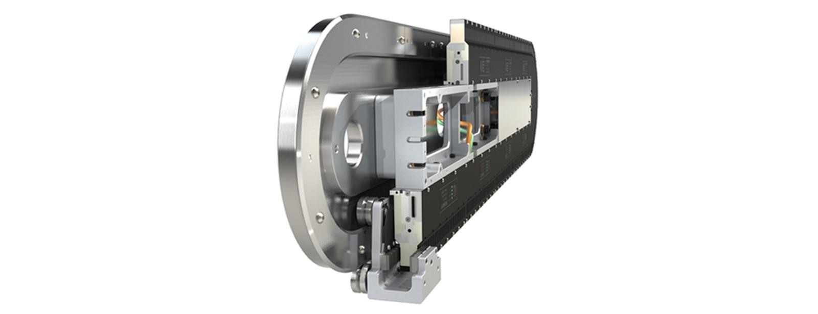 Das GFX Hepco Führungssystem für das Beckhoff XTS verwendet Linearmotortechnologie, um Mover auf einem Schienensystem zu verfahren. Jeder Mover ist individuell steuerbar, wodurch komplexe Hochgeschwindigkeits-Bewegungsprofile möglich werden.