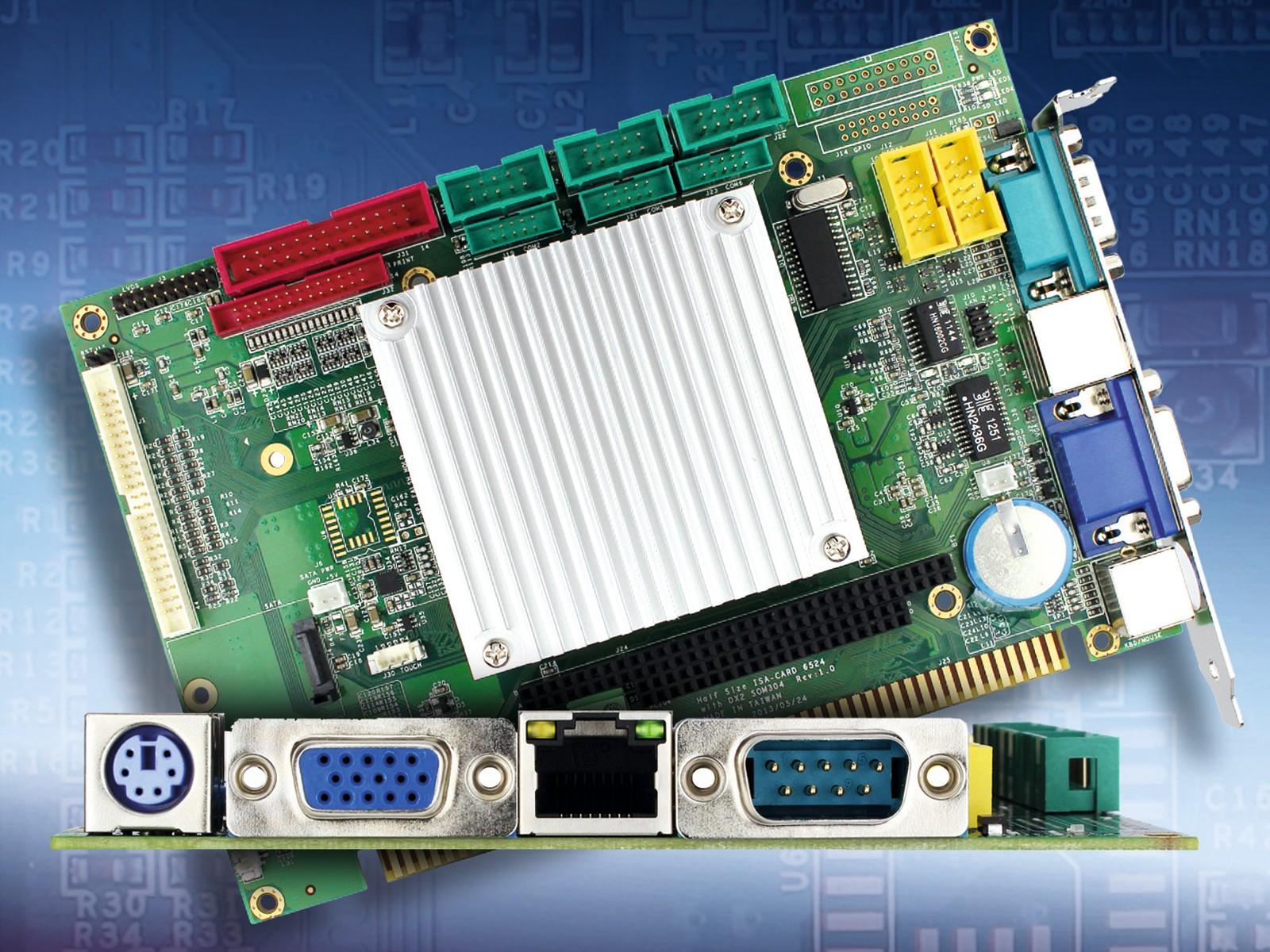 Die ISA-Slot-CPU im halfsize-Format VDX3-6724 hat einen PC/104-Steckplatz und lässt sich über Backplane oder PC/104-Slot anwendungsspezifisch mit Mess- und Steuerkarten im ISA-Format ergänzen. Sie eignet sich nicht nur für Retrofit-Anwendungen.