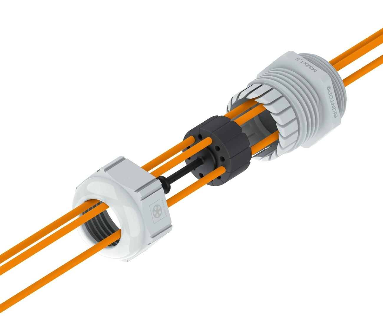 Kabelverschraubung für bis zu 12 Lichtwellenleiter