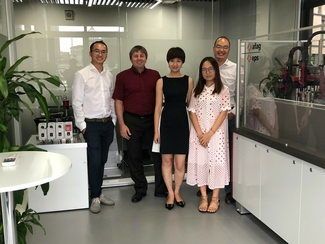 Michael Zhu, Regional Sales Manager, Greater China & SE Asia; Thorsten Eiche, General Manager Afag Automation Technology (Shanghai); Elaine Sun, Head of Administration; July Lu, Comprehensive Assistant und Chris Chen, Technical Support and Service Manager